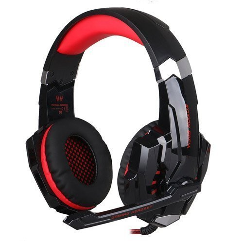PYRUS EACH G9000 Gaming Headphone, USB Surround Sound Version PC Headset Earphone Headband with Microphone LED Light-Black/Red