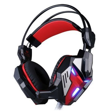 Games Headset with Mic Stereo Bass Breathing LED Light for PC Gamer(Black&Red)
