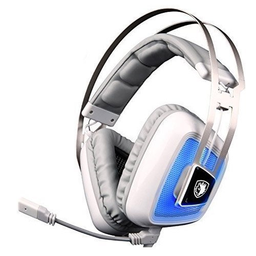 SADES A8 7.1 Surround Sound Over Ear USB Gaming Headphone with Microphone Vibration Noise Isolation LED Light for PC / Mac (White)